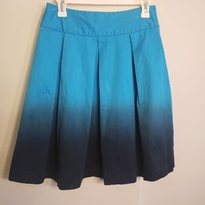 Express Blue Ombre Pleated Skirt